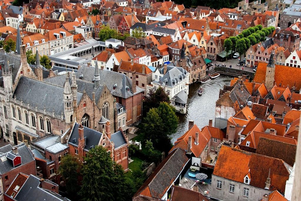 Belgie - Bruggy - letecký pohled